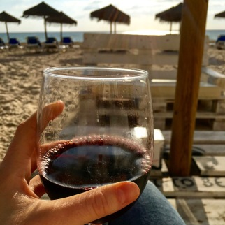 Enjoying a glass in Cadiz.